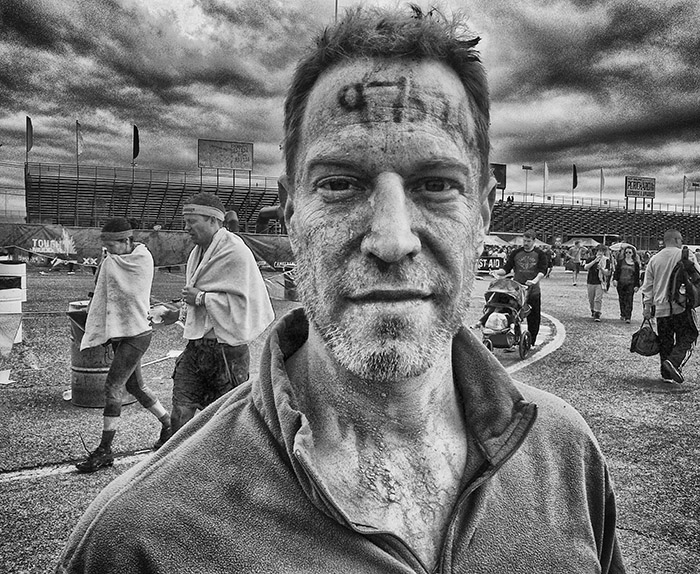 Post-Race: There's style...and there's Mudder Style. Portrait by my wife.