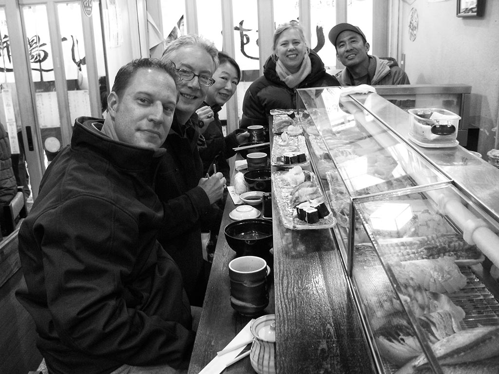 Sushi for Breakfast. From left to right: Me, Stephen Doyle, Rico Nose, photographer Victoria Pearson, assistant Jon Nakano